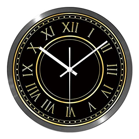 Horloge murale noir quartz chiffre romain, 14 pouces, blanc-Pin Yin