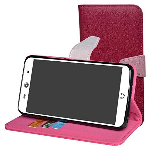 WileyFox Swift 2 / Swift 2 Plus Hülle,Mama Mouth Brieftasche Schutzhülle Case Hülle mit Kartenfächer und Standfunktion für WileyFox Swift 2 / Swift 2 Plus Smartphone,Pink
