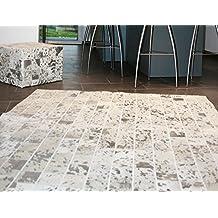 Alfombra de patchwork de piel de vaca, blanca plateada, 210 X 240 cm