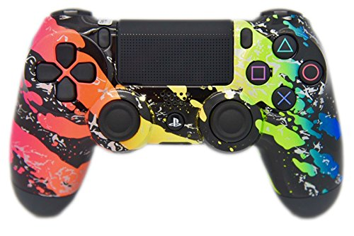 Rainbow Splatter PS4 Custom Controller, Handbemalt & Hydro, un-modded - Custom-ps4-controller
