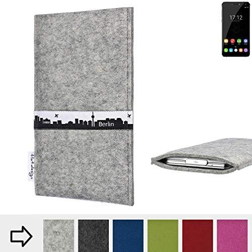 flat.design für Oukitel U11 Plus Schutz-Hülle Handy Tasche Skyline mit Webband Berlin - Maßanfertigung der Filz Schutztasche Handy Case aus 100% Wollfilz (hellgrau) für Oukitel U11 Plus
