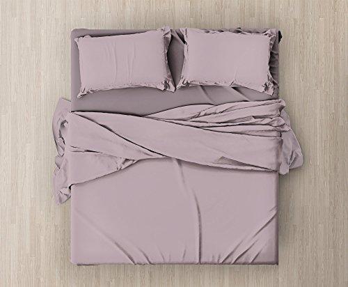 Set completo di lenzuola e federe da letto matrimoniale tinta unita,col. cipria in microfibra