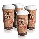 Oramics Kaffee to Go Kaffeebecher doppelwandig mit Korkbeschichtung – 9 x 18 cm – Trinkbecher Kaffee Becher Coffee to Go – Umweltbewusst trinken und nicht jeden Tag einen Wegwerfbecher nutzen (4 Stück)