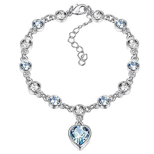 Geschenk zum Valentinstag-jdgemstone Swarovski Element Kristall Damen-Armbänder Weiß Gold Silber Armreif verstellbar Scharnier Damen Schmuck Geschenke