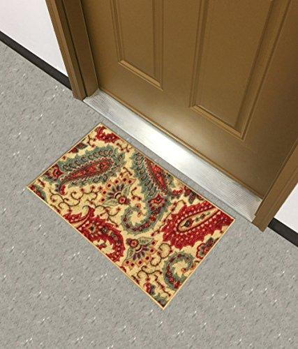 Rückseite gummiert Paisley Floral Teppiche und Läufer-Rana Collection Küche ESS-Living Badezimmer Pet Eintrag Teppiche, Synthetisch, beige, 18