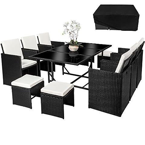 TecTake Ensemble Salon de jardin en Résine Tressée Poly Rotin Table Set 6+1+4 noir + Housse de Protection | Vis en Acier Inoxydable