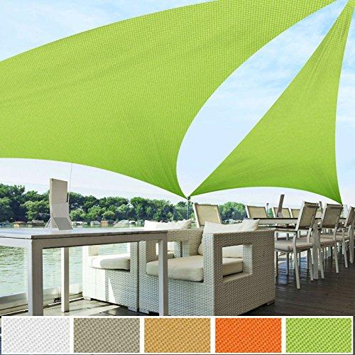 Voile d'ombrage triangle casa pura® vert clair | résistante, épaisse | imperméable, lavable en machine | 5x5x5m
