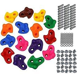 ALPIDEX Prises d'escalade Enfants , Capacité de Charge jusqu'à 200 kg , matériel de Fixation Inclus , différentes quantités Multicolores - 15 pièces