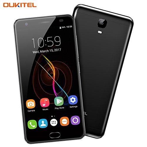 Handy ohne Vertrag, Oukitel K6000 Plus 5.5 Zoll Smartphone 6080 mAh Akku Android 7.0 4GB RAM 64GB ROM Dual Kamera 16MP 8MP 4G LTE FHD Touch-Display Octa-Core Dual Nano SIM Handy Fingerabdruck-Schwarz