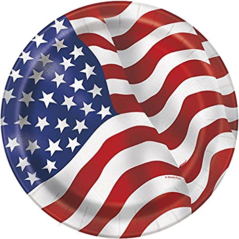 23cm US American Flag Party Plates, Pack of 8