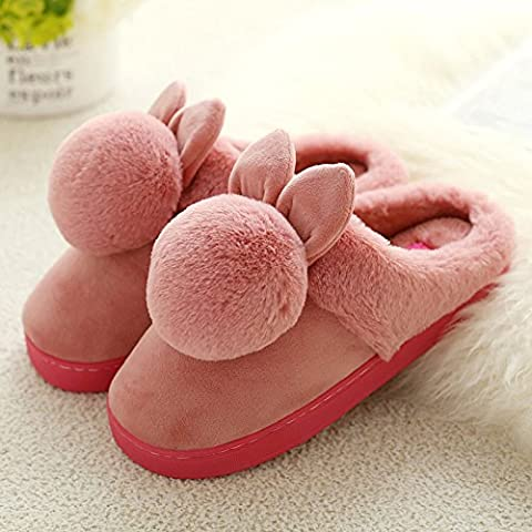 DogHaccd Slippers,President cotton slippers winter indoor lovely stay in the warm plush slippers floor soft bottom half with slippers,Chestnut