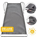 Zamboo Universal Pram Sunshade DELUXE for Pushchair, Buggy and Carrycot | Stroller Sun Sail with UV Protection 50+ and up and down slide function - Melange Grey