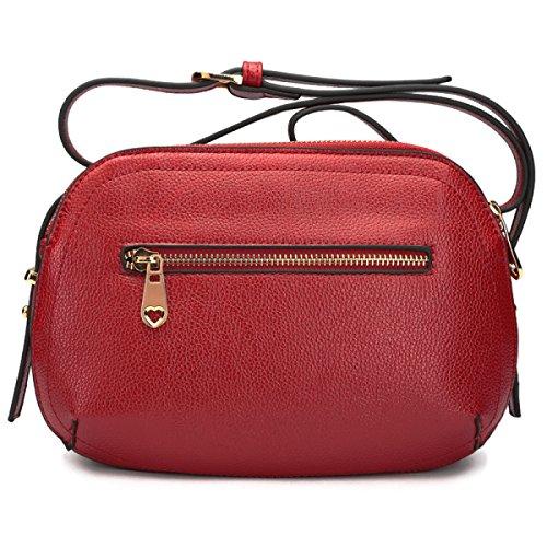 Donne Del Cuoio Genuino Bag Mini Shoulder Bag Messenger Semplice Solido Colore Il Primo Strato Di Borsa Di Shell Di Grande Capacità Delle Donne Piccola Borsa Piazza Black