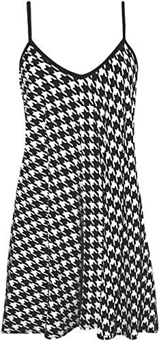 WearAll - Übergröße Bedruckt Ärmellos Riemchen Mini Kleid Vest Top - Hounds Zahn - 52-54 -