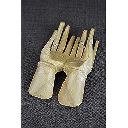 Manos de Buda–Expositor para anillos y tarjetas de visita de madera en bruto