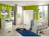 möbel-direkt Babyzimmer Bibi komplett Sets verschiedene Ausführungen (Babyzimmer Bibi 4-teilig, Alpinweiß, Apfelgrün)