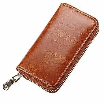 Jsix Echt Leder Schlüsseltasche Geldbörse Schlüsseletui Schlüsselmäppchen Damen Herren (Brown)