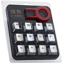 S Elemento de plata Double Shot PBT Keycaps con blancas rellenos–12DW-DT5059cidus Backlit botón tapas para teclados (mecánica Cherry Switches)