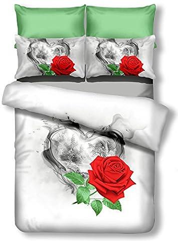 DecoKing Premium 00717 Bettwäsche 135x200 cm mit 1 Kissenbezug 80x80 weiß 3D Microfaser Bettbezug Bettwäschegarnitur Rosa Rose Blumen Blumenmuster white rot red grün green schwarz black Sorrento