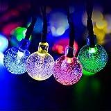 Salcar 5 Meter Solar LED Lichterkette 20 Bunten Kugeln Deko Beleuchtung für Weihnachten, Party, Festen, 2 Leuchtmodi (RGB) -