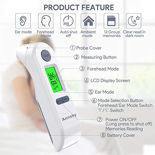 Termómetro Digital Frente y Oído,  Annsky Termómetro Infrarrojo Médico apto para la Bebés,  Niños,  Adultos con Función de Advertencia de Fiebre, Temperatura Ambiente