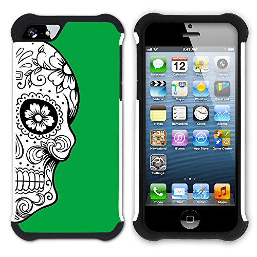 Graphic4You Mexikanische Zuckerschädel Tod (Wasserblau) Hart + Weiche Kratzfeste Hülle Case Schale Tasche Schutzhülle für Apple iPhone SE / 5 / 5S Grün