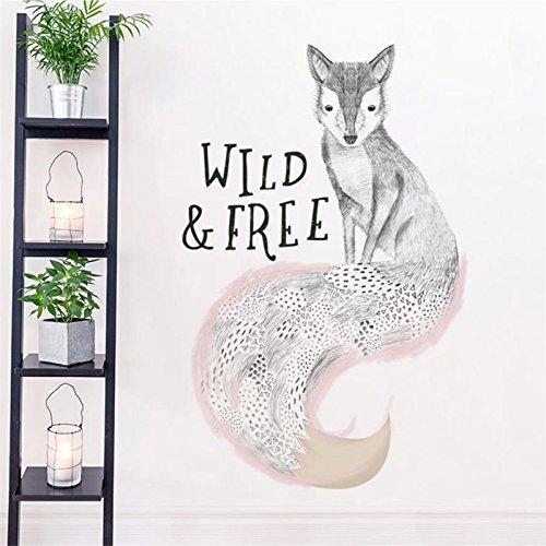 Weaeo Cute Wild Und Frei Zitieren Woodland Fox Tapetensticker Woodland Das Jungtieraufzuchthaus Aufkleber Cute Fox Wall Sticker Für Kinder Zimmer Vinyl Wandmalereien