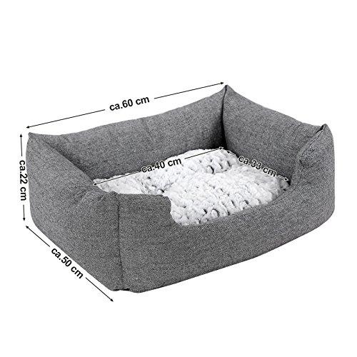 Songmics Tierbett mit Wendekissen, mit unten einen Anti-Rutschboden 60 x 50 x 22 cm PGW22G - 3