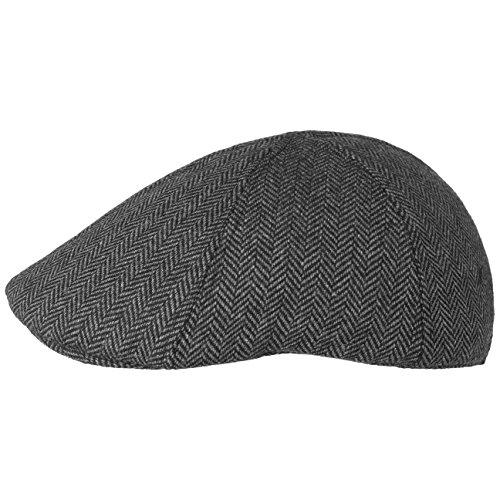 Lipodo Flatcap Herren | Schirmmütze im Herringbone-Design | Herrenmütze in Schwarz-Grau | Größe S 55-56 cm | Hinterseite mit Stretchband | Mütze mit Futter Herbst/Winter