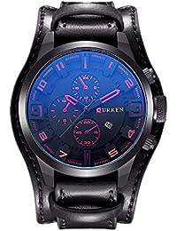 Curren los hombres de moda militar Classic correa de piel reloj, calendario, indicador de fecha (rojo)