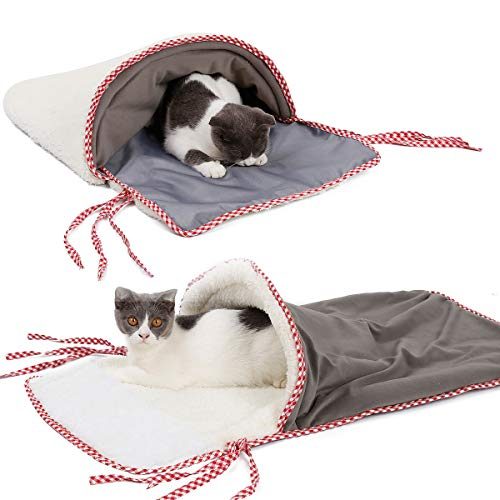 Oer gatto sacco a pelo pet bed cat playing tunnel morbido caldo antivento impermeabile pet letto casa per cane gatto gattino indoor outdoor grigio 38 * 70cm