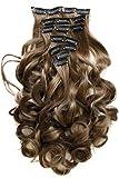 PRETTYSHOP XXL 60 cm 8 teiliges SET Clip In Extensions Haarverlängerung Haarteil hitzebeständig mittelbraun #12 CES3-1