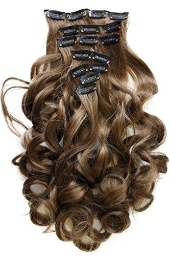 PRETTYSHOP XXL 8 Teile Set Clip in Extensions 50cm Haarverlängerung Haarteil hitzebeständig gewellt hellbraun #12 CES105-1