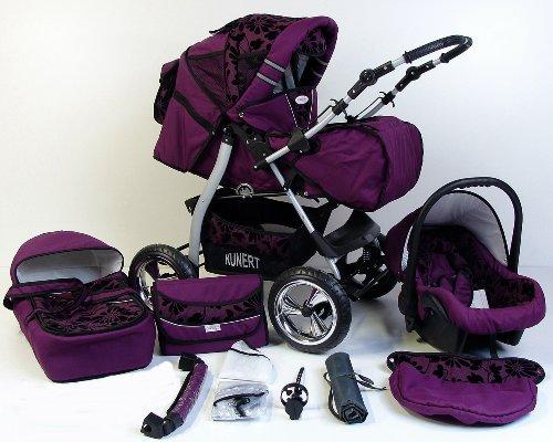 Clamaro \'VIP 2018\' 3in1 Premium Kinderwagen Kombi mit Soft Babywanne, Sport Buggy und Autositz Babyschale Gruppe 0+ (0-13 kg), Design: 1. ALU Hartgummi Bereifung - 41. Violet-Schwarzeblumen