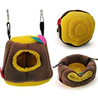 21sandwhick Pet Hammock, Bird Parrot Hamster Squirrel Tree Hole Hammock Hanging Nests Warm Bed Pet Supply Brown+Yellow