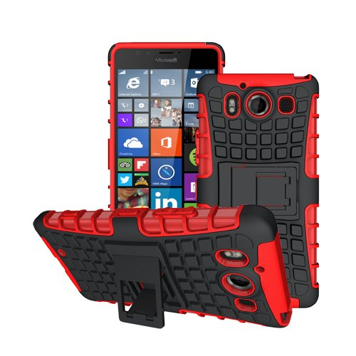 betterfon Microsoft Lumia 950 / Lumia 950 Dual Sim Rot Outdoor Hybrid Case Panzer Tasche Cover Silikon Handytasche Hülle SCHUTZ Schutzhülle Bumper +Gratis Displayschutzfolie