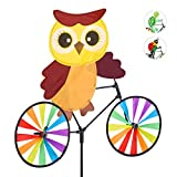 Relaxdays Windrad Eule, Gartenstecker in tierischem Design, Kinder, für Balkon oder Terrasse, 89 cm hoch, Mehrfarbig, Braun