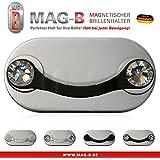 MAG-B soporte para gafas magnético (acero inoxidable negro con cristales originales de Swarovski)