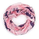 MANUMAR Loop-Schal für Damen | Hals-Tuch in rosa blau mit Pferde Motiv als perfektes Herbst Winter Accessoire | Schlauchschal | Damen-Schal | Rundschal | Geschenkidee für Frauen und Mädchen