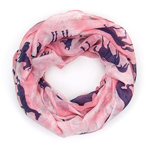 ManuMar Loop-Schal für Damen | Hals-Tuch mit Pferde-Motiv als perfektes Sommer-Accessoire | Schlauch-Schal in Rosa Blau- Das ideale Geschenk für Frauen (Mädchen Schals)