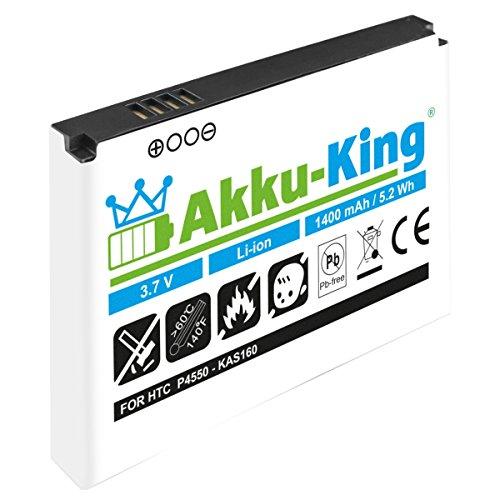 Akku-King Akku für HTC P4550 Kaiser, TyTN2, MDA Vario 3, VPA Compact 5, O2 XDA Stellar, Vodafone VPA Compact 5 - Li-Ion ersetzt BA S210 KAS160 35H00088-00M - 1400 mAh