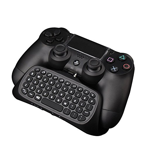 Megadream® mini ricaricabile senza fili bluetooth sms tastiera chatpad gamepad gioco portatili, live voice chat online portatili con porta connessione jack audio da 3.5 mm per sony playstation 4 ps4 dual shock controller nero