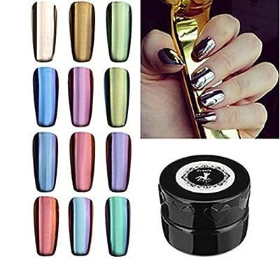 Fulltime(TM) 12 Colors Shinning Mirror Nail Glitter Powder Dust Nail Sequins Art Makeup DIY Chrome Pigment With Sponge Stick Pen