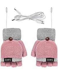Ruiqas Guantes calentados unisex con USB, guantes calentados para mujeres, hombres, niñas, niños, invierno completo y medio dedo, regalo