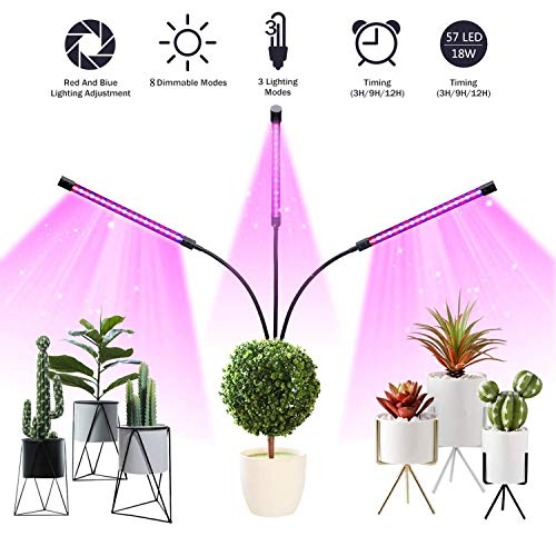 Pflanzenlampe 18W 57 LED 3 Automatisch Timer(3H/9H/12H),8 Stufen Helligkeit, 360°Einstellbar LED...