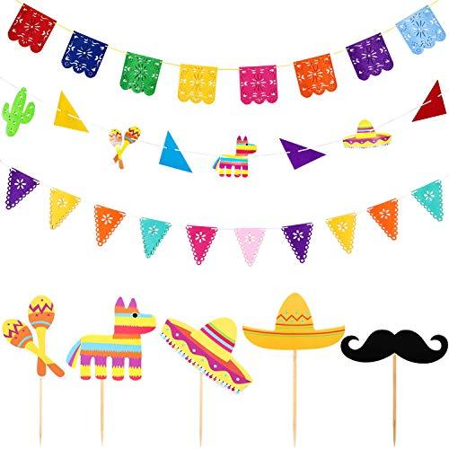 Blulu 21 Piezas de Guirnalda de Papel Picado Pancarta de Fiesta de Cinco de Mayo Colorida para Festival Mexicano Decoraciones de Fiesta (21 Piezas, Estilo C)