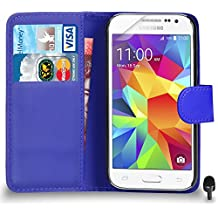 Premium Leather BLUE Wallet Flip Case FOR Samsung Galaxy Core Prime Case Cover Screen Protector & Polishing Cloth Black Cap, (WALLET BLUE)