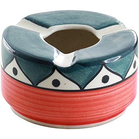 descuento de hoy - Premium 74% de descuento - SouvNear 9,5 cm Cenicero con 3 ranuras de boquilla - cenicero de cerámica redondo colorido de la Oficina / bar / interior y exterior - regalo perfecto para los fumadores y es ideal para uso personal