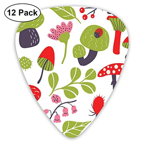 Guitar Picks - Abstract Art Colorful Designs,Forest Figures Pink Toned Thistle Lily Of The Valley Berry And Snails,Unique Guitar Gift,For Bass Electric & Acoustic Guitars-12 Pack -