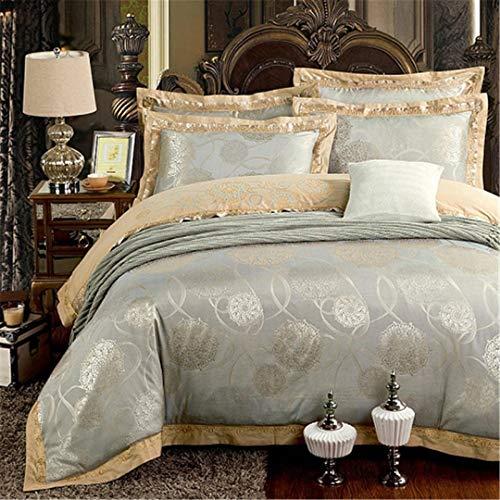 JSHECOVER Sliver Gold-Silk Satin Jacquard Bettbezug Bettwäsche Set Königin King Size Stickerei Spannbettlaken Set Color 11 Queen 6Pcs Bed Sheet Style
